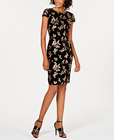 Calvin Klein Sequin-Embellished Velvet Sheath Dress