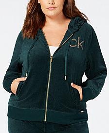 Calvin Klein Plus Size Studded Velour Jacket