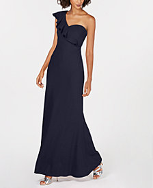 Calvin Klein Ruffled One-Shoulder Gown