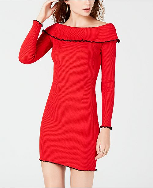Almost Famous Juniors Off The Shoulder Sweater Dress Dresses