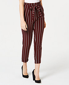 Almost Famous Juniors' Striped Cuffed Paperbag-Waist Pants