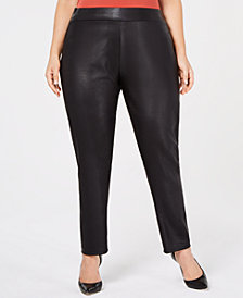 JM Collection Plus Size Embossed Snakeskin-Print Leggings, Created for Macy's