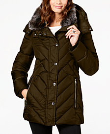 London Fog Faux-Fur-Trim Hooded Puffer Coat