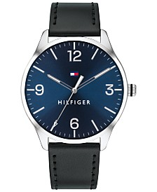 Tommy Hilfiger Men's Black Leather Strap Watch 42mm