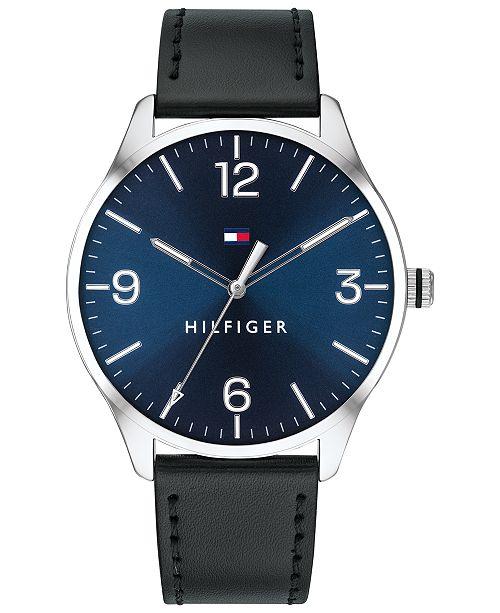 Tommy Hilfiger Men's Black Leather Strap Watch 42mm