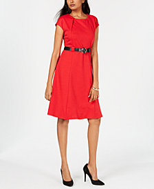 NY Collection Petite Printed Belted Fit & Flare Dress