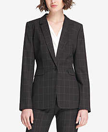 DKNY Windowpane-Print One-Button Jacket, Created for Macy's