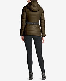 DKNY Logo-Band Belted Puffer Coat