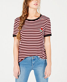 Rebellious One Juniors' Rose-Patch Striped Ringer T-Shirt
