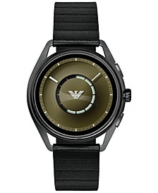 Emporio Armani Men's Black Leather Strap Touchscreen Smart Watch 43mm