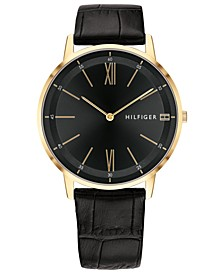 Men's Black Leather Strap Watch 40mm