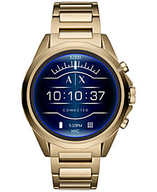A|X Armani Exchange Men's Connected Gold-Tone Stainless Steel Bracelet Touchscreen Smart Watch 48mm