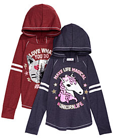 Beautees Big Girls Unicorn & Cat Reversible Sequins Hooded Top