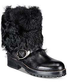 COACH Leighton Signature Buckle Combat Booties