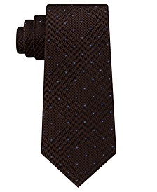 Men's Dotted Glen-Check Silk Tie