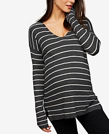 Maternity Striped V-Neck Sweater