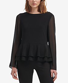 DKNY Sheer-Sleeve Peplum Top, Created for Macy's