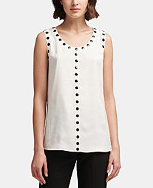 DKNY Studded-Trim Sleeveless Top, Created for Macy's