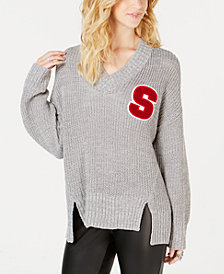 Ultra Flirt by Ikeddi Juniors' Letter-Patch Varsity Sweater