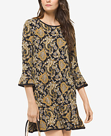 MICHAEL Michael Kors Paisley-Print Bell-Sleeve Dress, In Regular & Petite Sizes