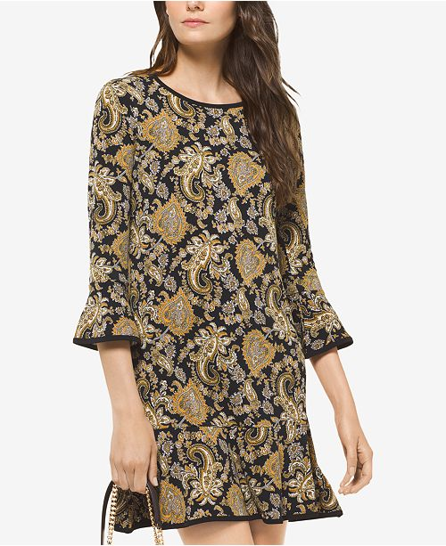 eeb8930f8ce2 ... Michael Kors Paisley-Print Bell-Sleeve Dress, In Regular & Petite Sizes  ...