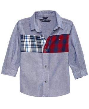 Tommy Hilfiger Baby Boys Josh Denim  Plaid Cotton Shirt