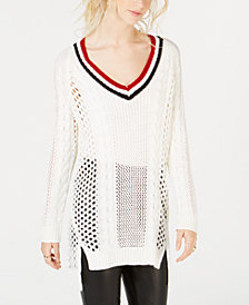 Ultra Flirt by Ikeddi Juniors' Pointelle Varsity Tunic Sweater