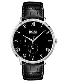BOSS Hugo Boss Men's William Ultra Slim Black Leather Strap Watch 40mm