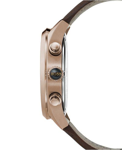 c7f308e40 ... BOSS Hugo Boss Men's Chronograph Grand Prix Brown Leather Strap Watch  ...