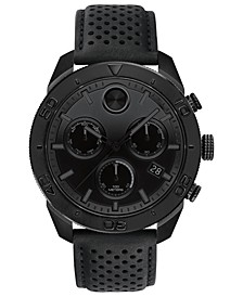 Men's Swiss Chronograph BOLD Black Perforated Leather Strap Watch 44.5mm