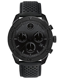Movado Men's Swiss Chronograph BOLD Black Perforated Leather Strap Watch 44.5mm
