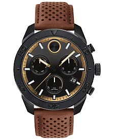 Movado Men's Swiss Chronograph BOLD Cognac Perforated Leather Strap Watch 44.5mm