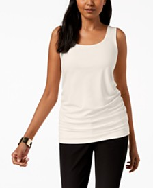 Alfani Petite Scoop Neck Ruched Tank Top, Created for Macy's