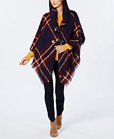 Charter Club Bouclé Plaid Toggle Poncho, Created for Macy's
