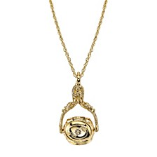 Gold-Tone 3-Sided Spinner Locket Necklace 30""