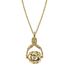 """2028 Gold-Tone 3-Sided Spinner Locket Necklace 30"""""""