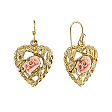 2028 Gold Pink Flower Heart Drop Earrings