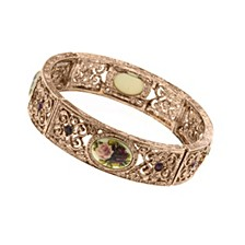 Rose Gold-Tone Purple Crystal Flower Bracelet