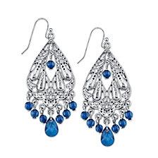 2028 Silver-Tone Blue Chandelier Earrings