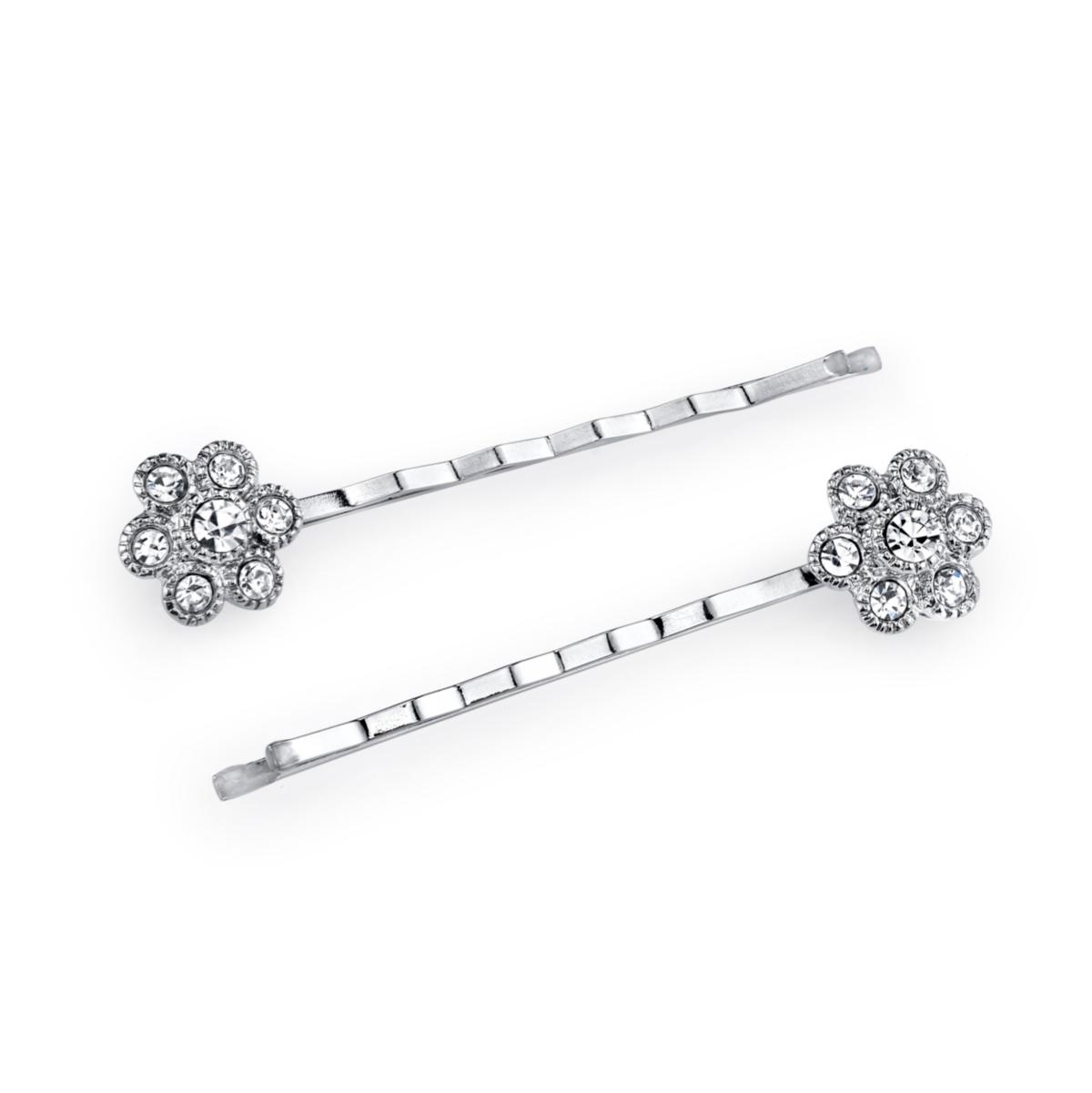2028 Silver-Tone Crystal Flower Bobby Pin Set