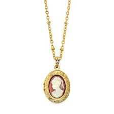 Downton Abbey 14K Gold-Dipped Oval Cameo Locket Necklace