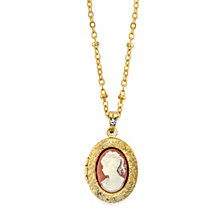 "2028 Gold-Tone Oval Cameo Locket Necklace 16"" Adjustable"
