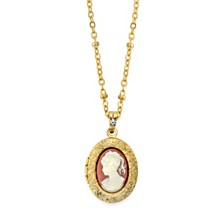 """2028 Gold-Tone Oval Cameo Locket Necklace 16"""" Adjustable"""