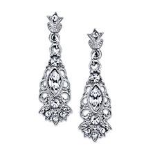 2028 Silver-Tone Crystal Navette Drop Earrings