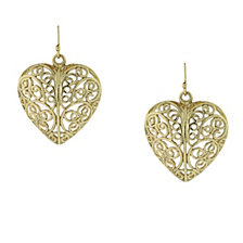 2028 Gold-Tone Puffed Filigree Heart Earrings