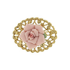 2028 14K Gold-Dipped Pink Genuine Porcelain Rose Filigree Pin