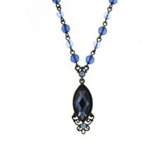 "2028 Black-Tone Blue Navette Necklace 16"" Adjustable"
