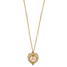 "2028 Gold-Tone Pink Crystal Heart and Pink Porcelain Rose Filigree Necklace 16"" Adjustable"