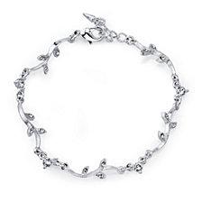 """2028 Silver-Tone Crystal Vine Bracelet 7"""" Adjustable"""