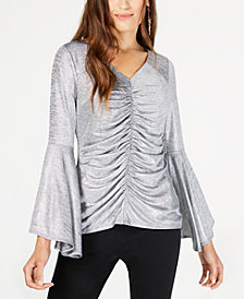 Thalia Sodi Ruched Bell-Sleeve Shimmer Top, Created for Macy's
